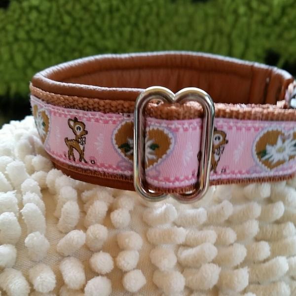 Halsband Edelweiß und Bambi, braunes Leder, rosa, hellbraun