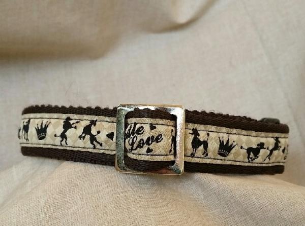 Weiches Gurtbandhalsband, Poodle love, braun