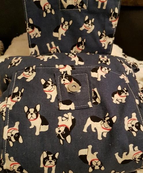 Muff-Tasche Boston-Terrier, blau, weiss