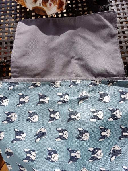 Umhängetasche mit Umschlag, Boston-Terrier, Bully hellblau, grau
