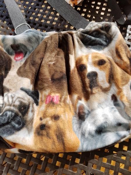 Fleece Tasche, Baumwollfutter, div. Hundeköpfe
