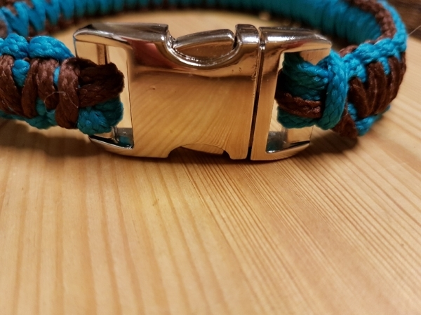 Nylonband geflochen, türkis, dunkelbraun, 41,5 cm