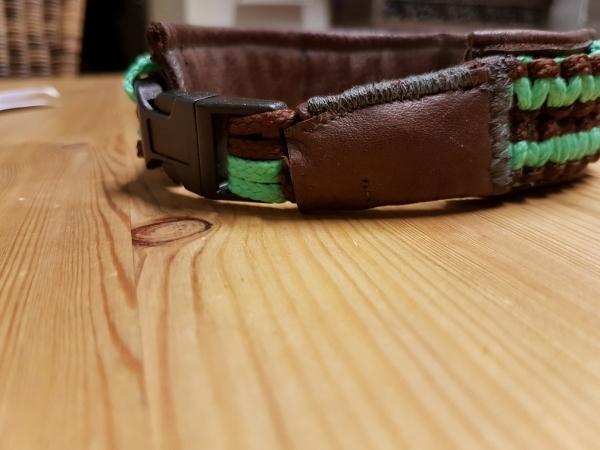 Elchlederhalsband mit geflochtenem Nylon Band, Halsbandlänge 36 cm