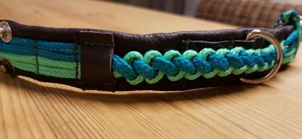 Elchlederhalsband mit Nylonband, mint, türkis, 35 cm