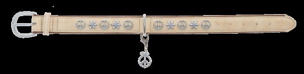 Artlederhalsband Peace, mit Leine im Set