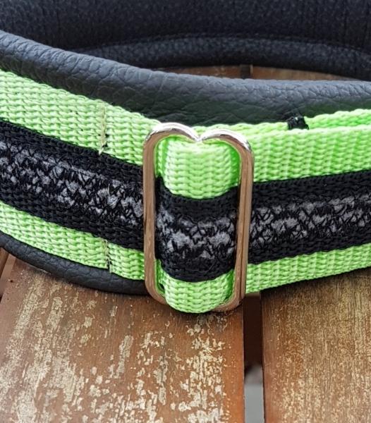 Gurtbandhalsband grau, schwarz, limettengrün hell, 50 - 53 cm x 5 cm
